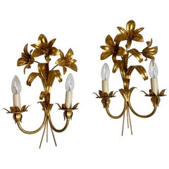 French Gilt Lily Flower Wall Lights, circa 1970s