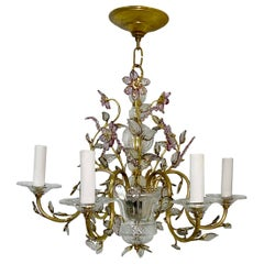 French Gilt Metal and Amethyst Chandelier