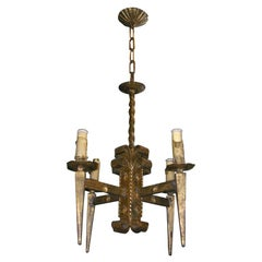 French Gilt Metal Brutalist style Chandelier, 1940s