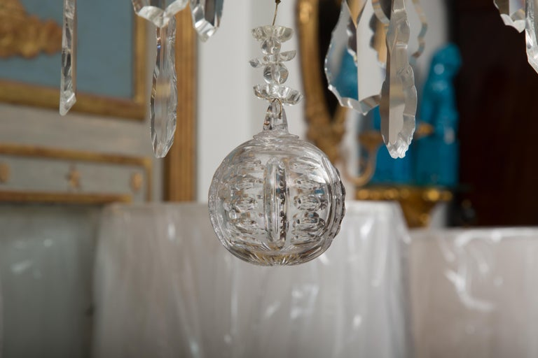 Louis XVI French Gilt Metal Chandelier with Crystal Drops For Sale