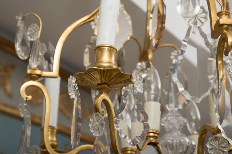 20th Century French Gilt Metal Chandelier with Crystal Drops For Sale