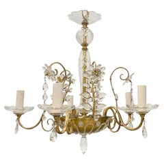 French Gilt Metal Chandelier with Crystals