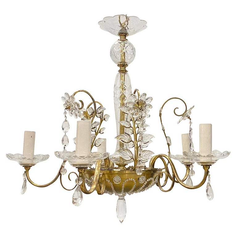 French Gilt Metal Chandelier with Crystals For Sale