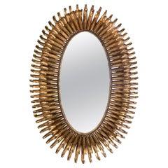 French Gilt Metal Eyelash Sunburst Convex Wall Mirror