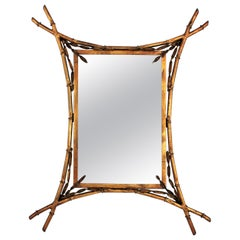French Gilt Metal Faux Bamboo Mirror in the Style of Maison Baguès
