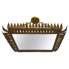 French Gilt Metal Foliage Light Fixture
