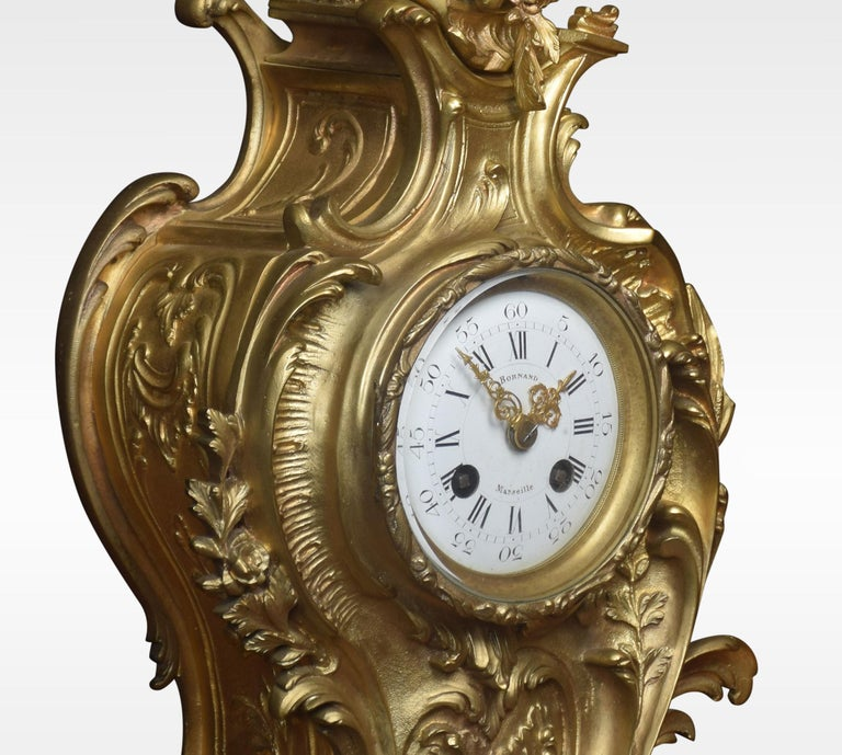 French Gilt Metal Mantel Clock In Good Condition In Cheshire, GB
