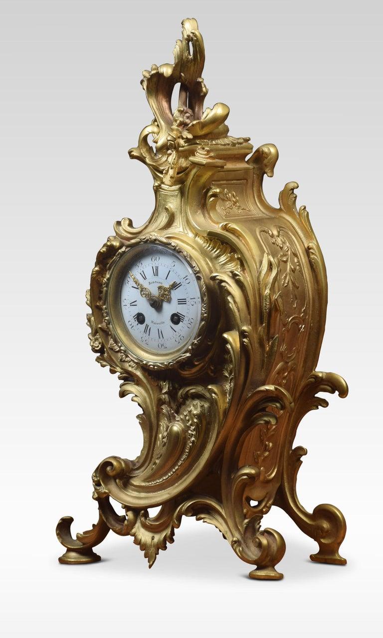 French Gilt Metal Mantel Clock 2