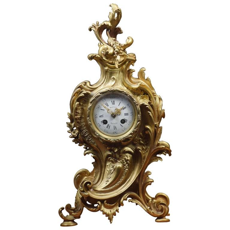 French Gilt Metal Mantel Clock