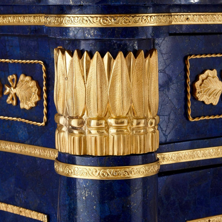 French Gilt Metal Mounted Lapis Commode in the Empire Style For Sale 2