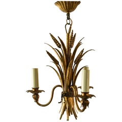 French Gilt Metal Sheaf of Wheat Chandelier