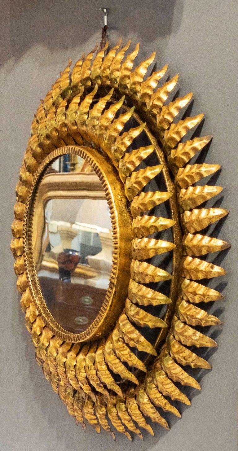 20th Century French Gilt Metal Sunburst Mirror (Diameter 20) For Sale