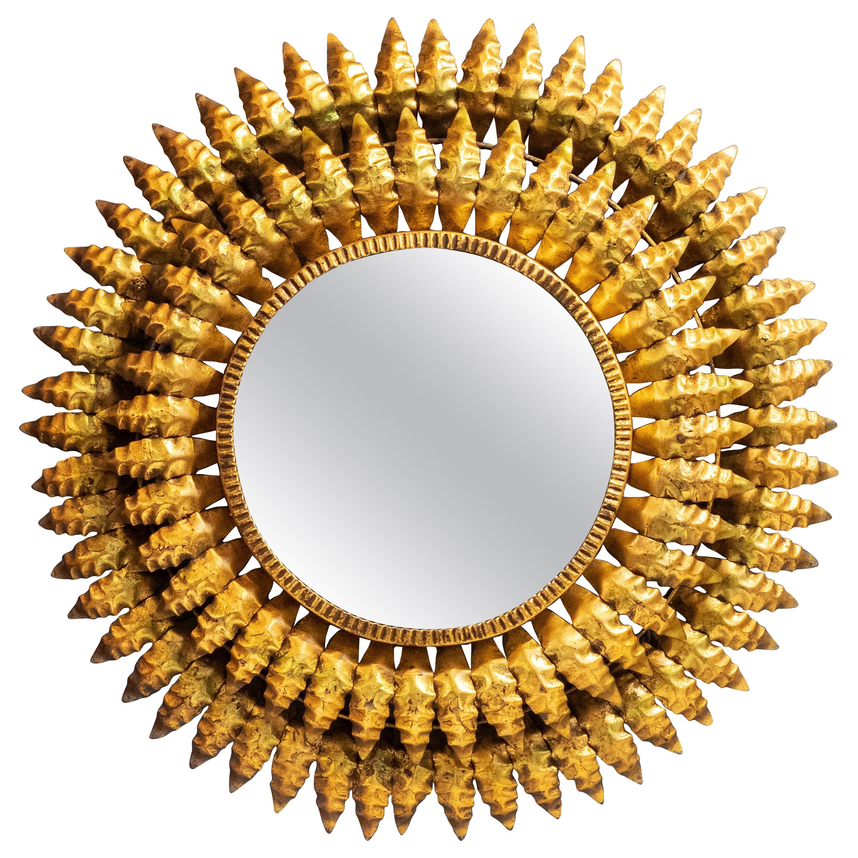 French Gilt Metal Sunburst Mirror (Diameter 20)