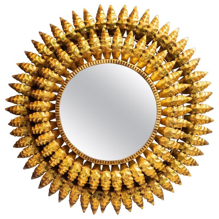 French Gilt Metal Sunburst Mirror (Diameter 20) For Sale