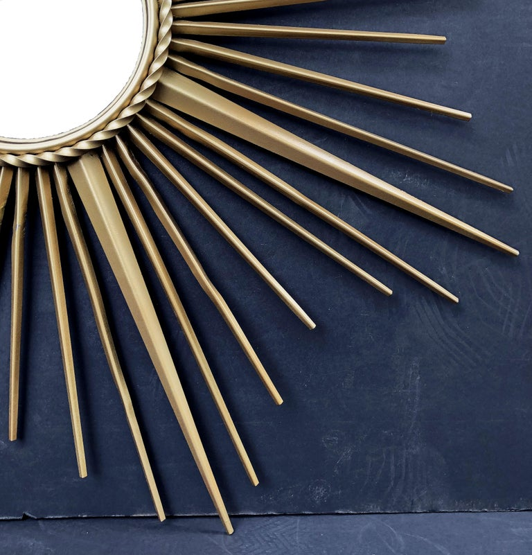 French Gilt Metal Sunburst or Starburst Mirror by Chaty Vallauris (Dia 33 3/4) For Sale 4