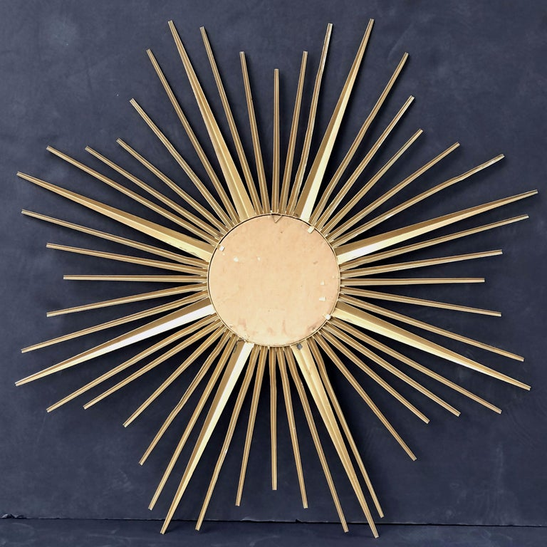 French Gilt Metal Sunburst or Starburst Mirror by Chaty Vallauris (Dia 33 3/4) For Sale 7