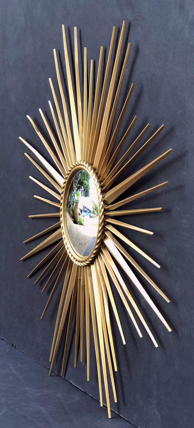 French Gilt Metal Sunburst or Starburst Mirror by Chaty Vallauris (Dia 33 3/4) In Good Condition For Sale In Austin, TX