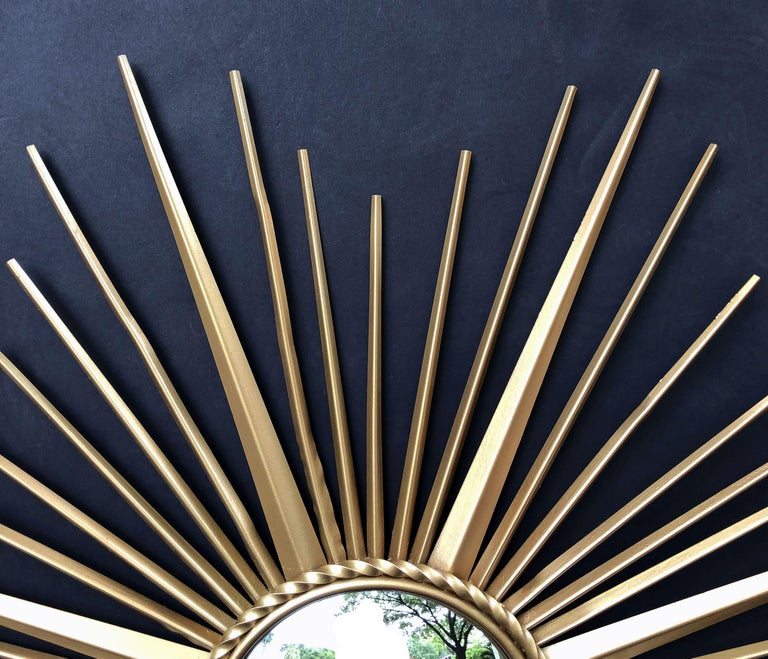 20th Century French Gilt Metal Sunburst or Starburst Mirror by Chaty Vallauris (Dia 33 3/4) For Sale