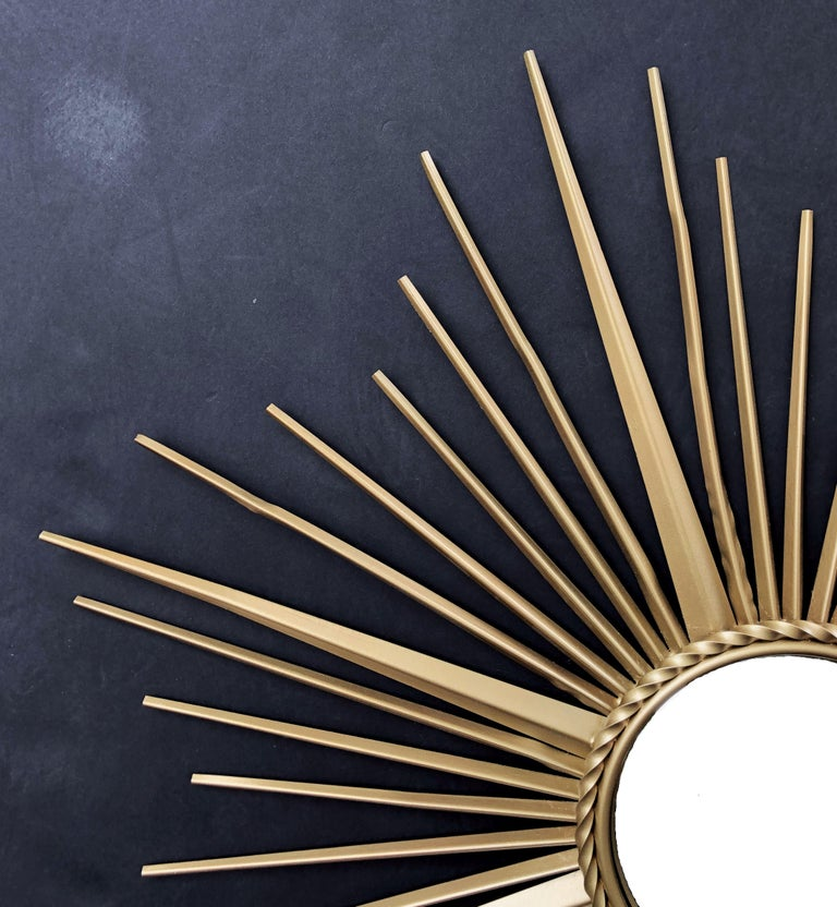 Glass French Gilt Metal Sunburst or Starburst Mirror by Chaty Vallauris (Dia 33 3/4) For Sale