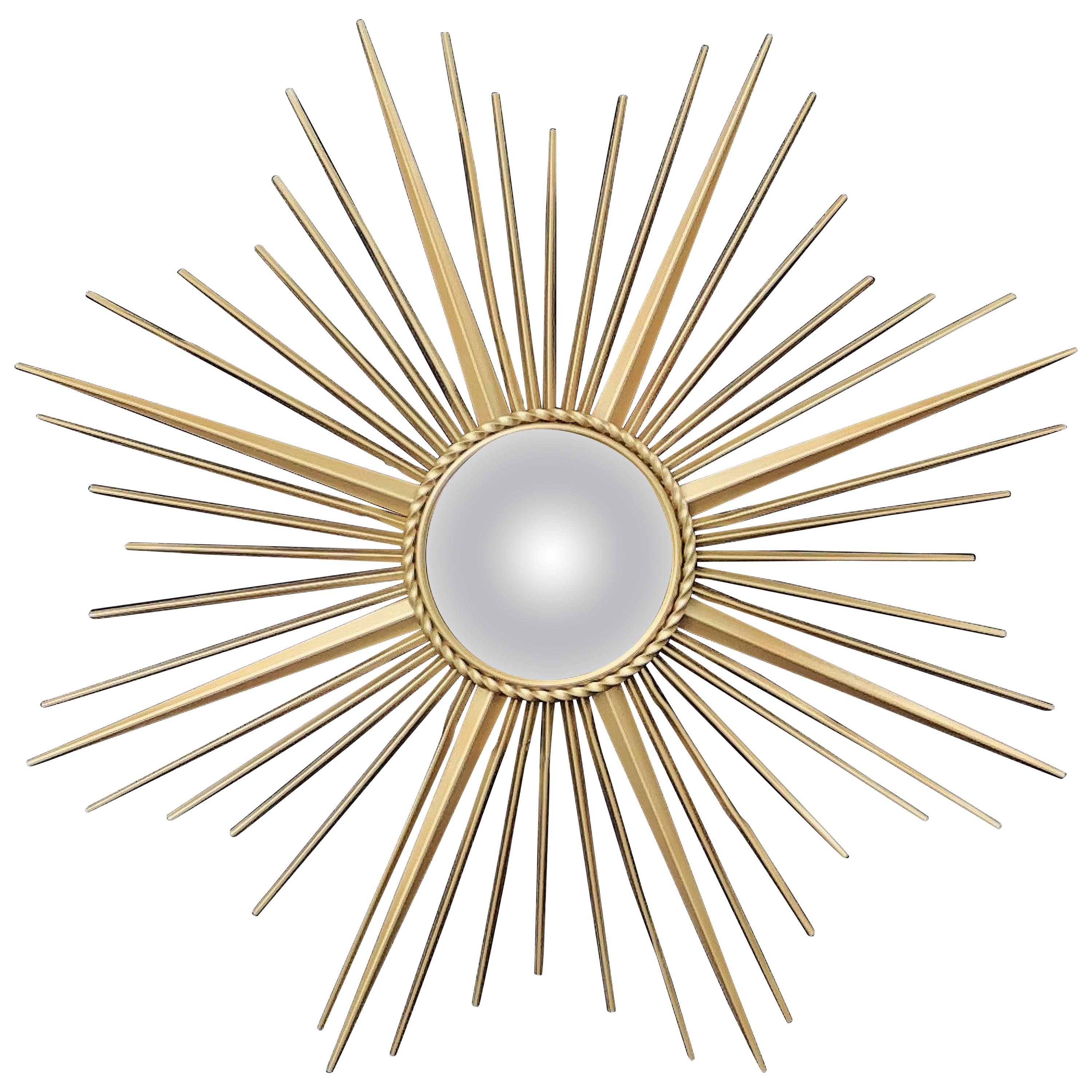 French Gilt Metal Sunburst or Starburst Mirror by Chaty Vallauris (Dia 33 3/4)