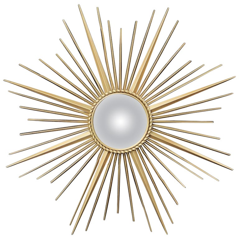 French Gilt Metal Sunburst or Starburst Mirror by Chaty Vallauris (Dia 33 3/4) For Sale