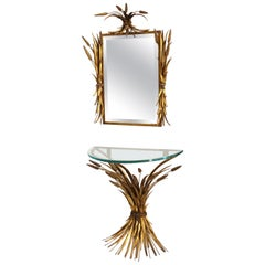 French Gilt Metal Wheat Sheaf Console Demi Lune Table & Mirror
