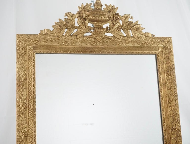 French gilt Louis XVI style carved wood, in excellent conditions, some wear but is minor due to aging other than that in great condition.