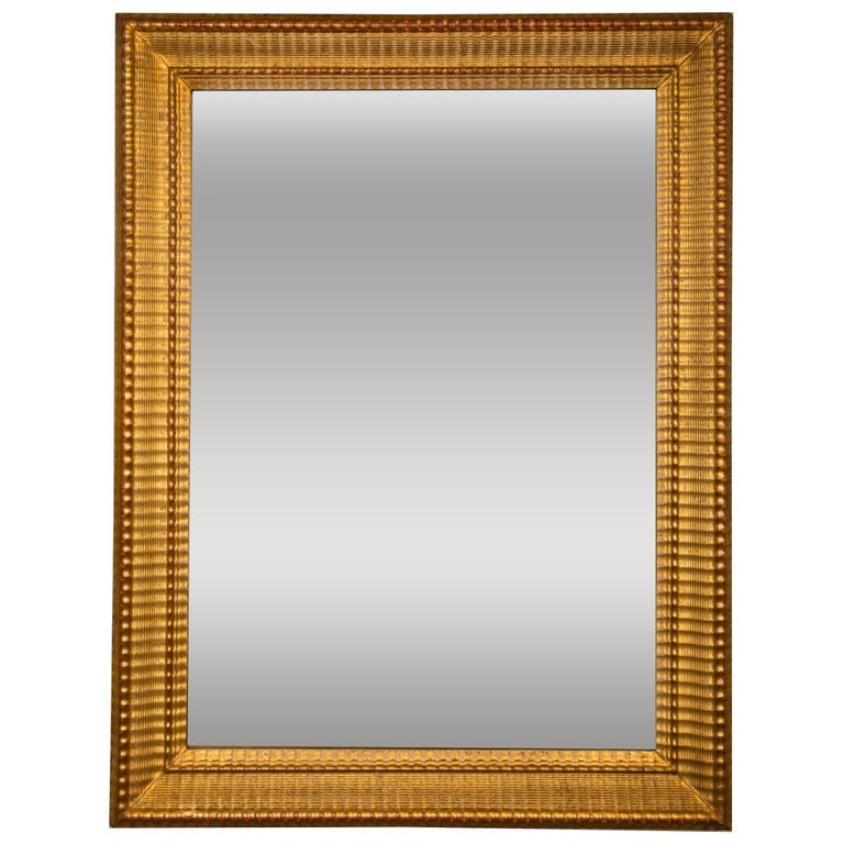 French 19th Century Gilt Mirror with Rippled Border