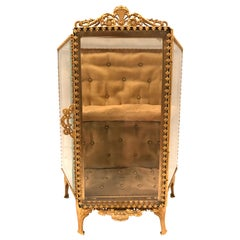French Gilt Ormolu Miniature Vitrine Jewelry Box Display