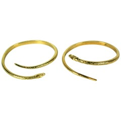 French Gilt Snake Bangles