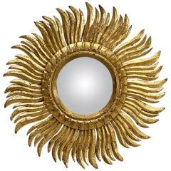 French Gilt Starburst or Sunburst Convex Mirror (Diameter 17)