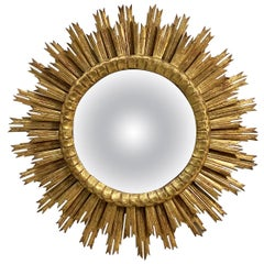 French Gilt Starburst or Sunburst Convex Mirror (Diameter 30)