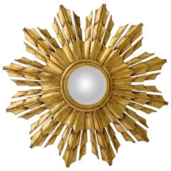French Gilt Starburst or Sunburst Convex Mirror
