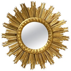 French Gilt Starburst or Sunburst Convex Mirror (Diameter 24)