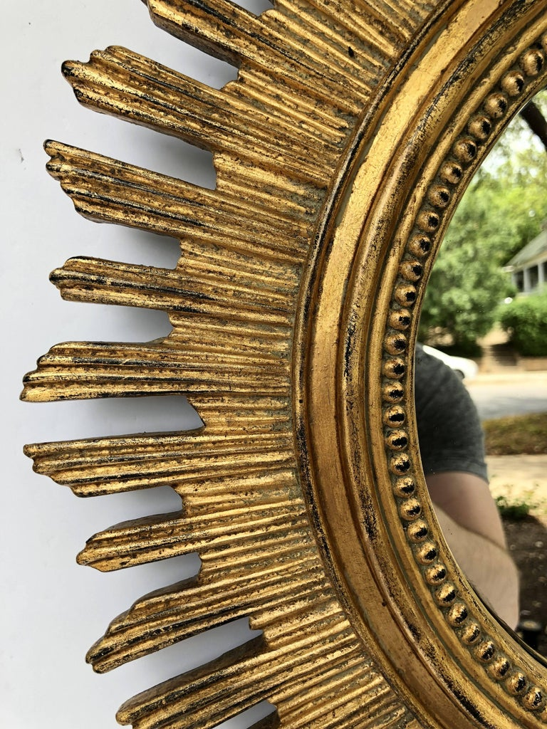 20th Century French Gilt Starburst or Sunburst Mirror (Diameter 20 1/2) For Sale
