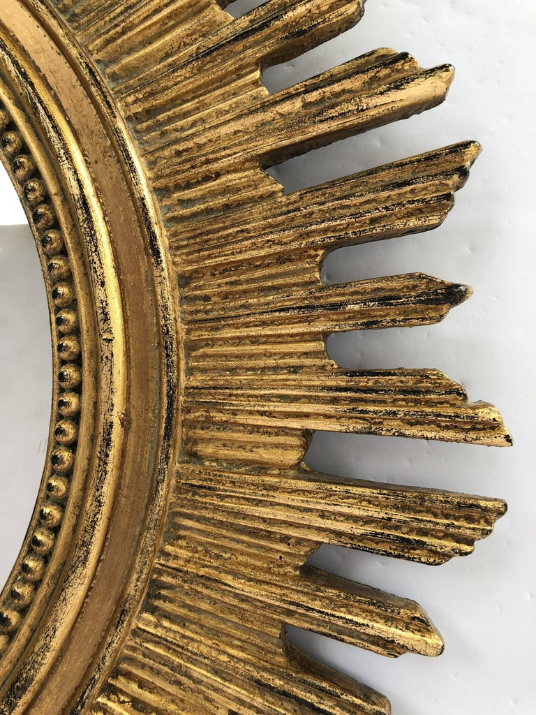 French Gilt Starburst or Sunburst Mirror (Diameter 20 1/2) For Sale 1