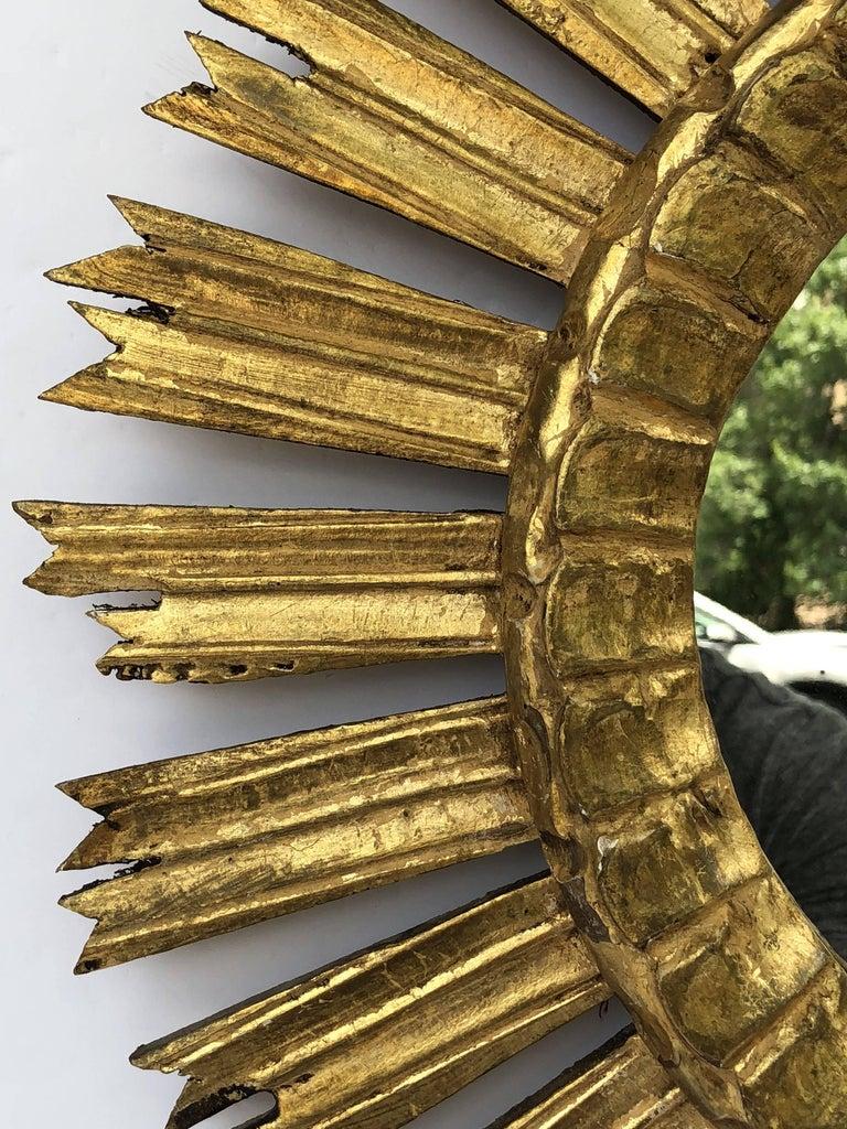 20th Century French Gilt Starburst or Sunburst Mirror (Diameter 21) For Sale