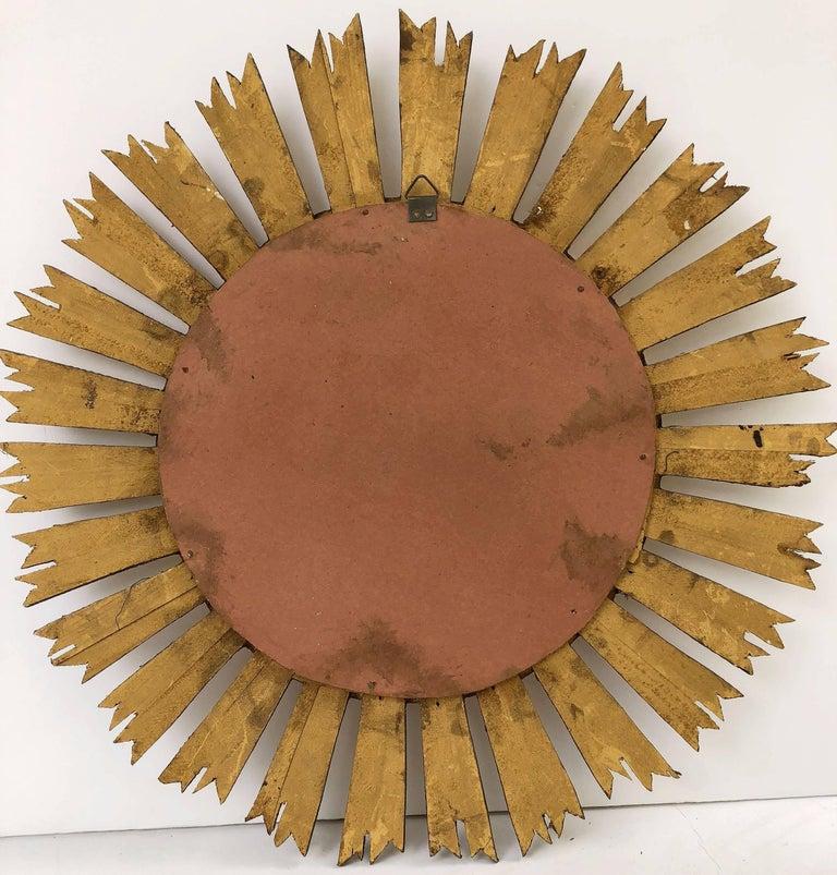French Gilt Starburst or Sunburst Mirror (Diameter 21) For Sale 4