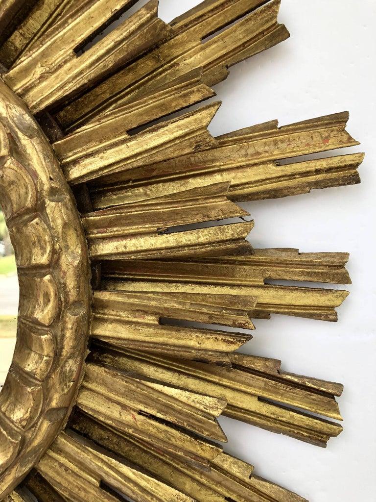 French Gilt Starburst or Sunburst Mirror (Diameter 25) For Sale 1