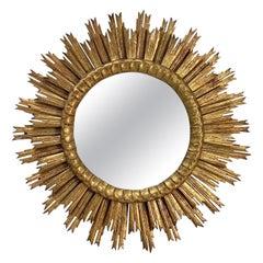 French Gilt Starburst or Sunburst Mirror (Diameter 30)