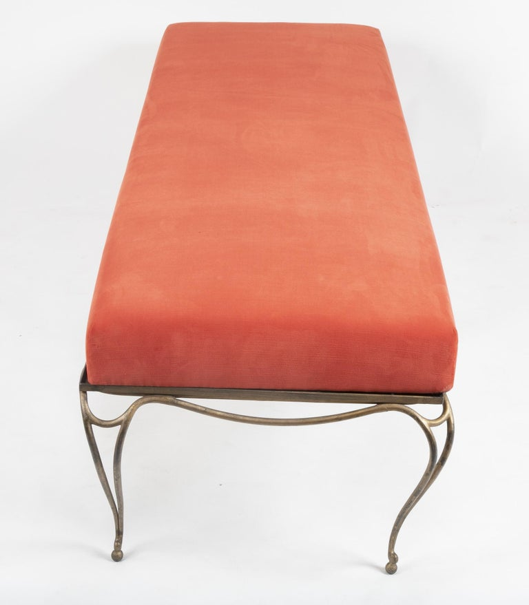 French Gilt Steel Bench in the Style of Maison Ramsay For Sale 4