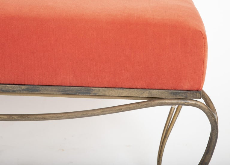 Modern French Gilt Steel Bench in the Style of Maison Ramsay For Sale