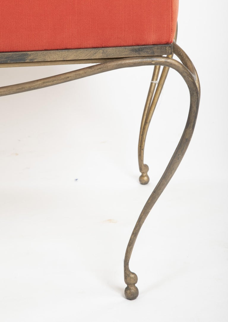 Silvered French Gilt Steel Bench in the Style of Maison Ramsay For Sale
