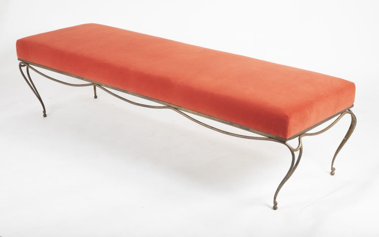 French Gilt Steel Bench in the Style of Maison Ramsay For Sale 1