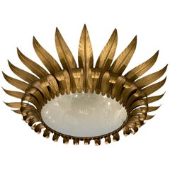 French Gilt Sunburst Light Fixture