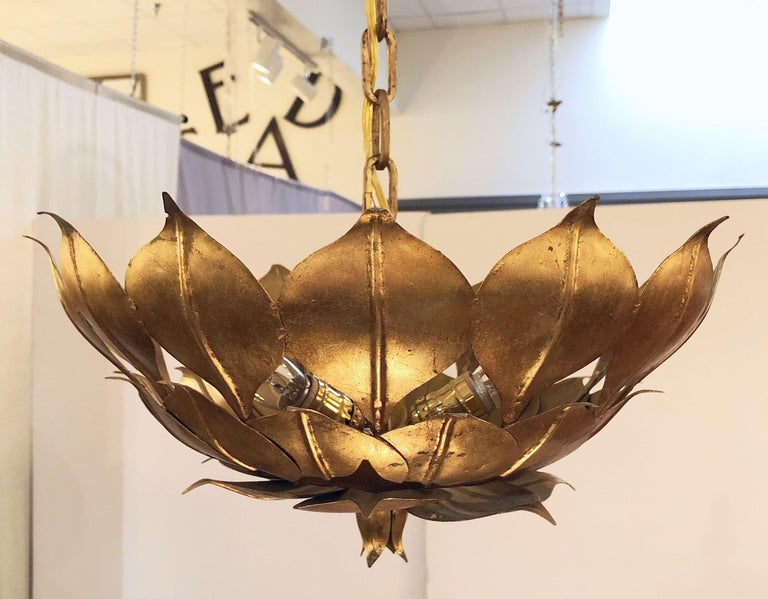 French Gilt Three-Light Hanging Fixture with Lotus or Leaf Design (18