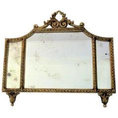 French Gilt Tri-Panel Mirror with Original Mercury Glass