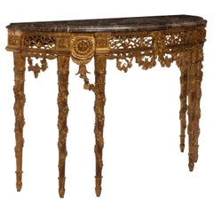 French Gilt Wood Demi-Lune Console Table, Louis XVI Style