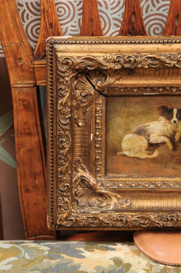 French Giltwood Framed Oil on Panel Painting of Papillon Dogs In Good Condition For Sale In Atlanta, GA