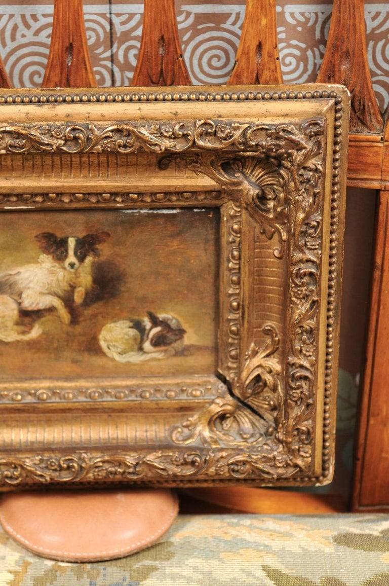 19th Century French Giltwood Framed Oil on Panel Painting of Papillon Dogs For Sale